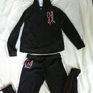 Justice Girl's Black Joggers Set